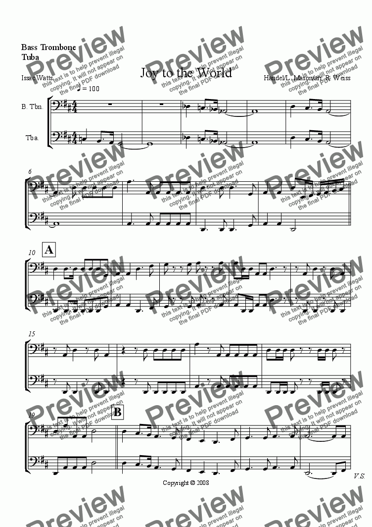 page one of the Bass trb & tuba part from Joy to the World (for Choir w/organ, brass & Perc. acc.)