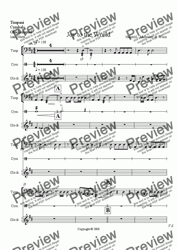 page one of the Percussion part from Joy to the World (for Choir w/organ, brass & Perc. acc.)