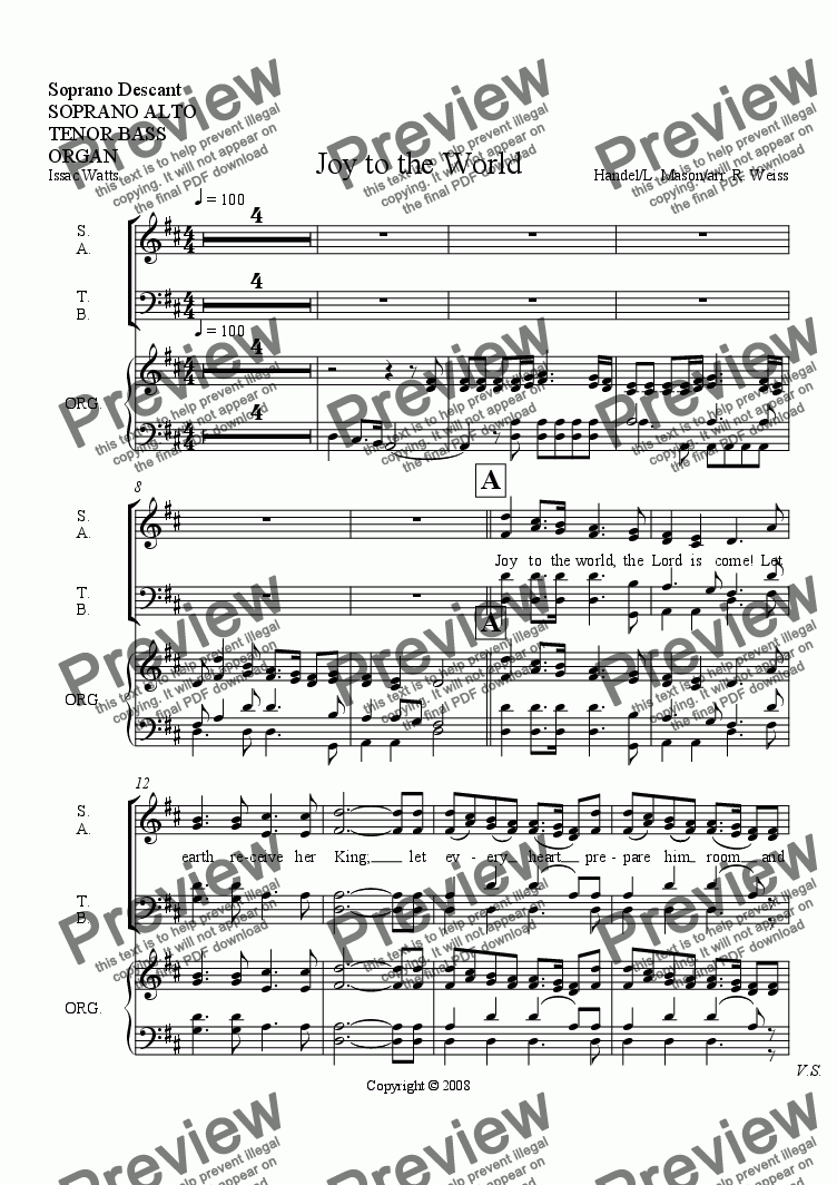 page one of the Choir & organ part from Joy to the World (for Choir w/organ, brass & Perc. acc.)