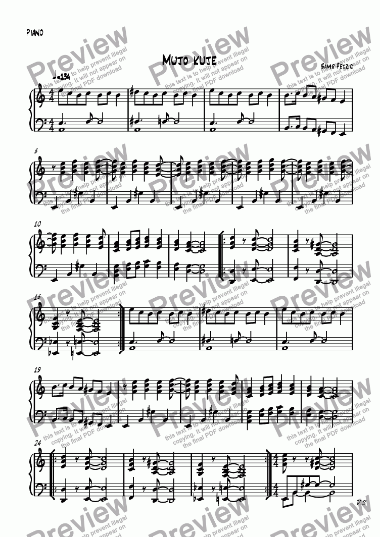 page one of the Piano part from Mujo kuje (longer version)