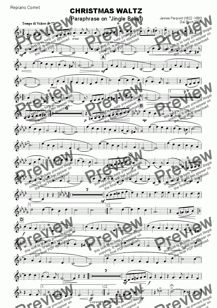 page one of the Repiano Cornet part from Christmas Waltz (Jingle Bells)