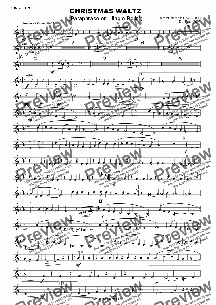 page one of the 2nd Cornet part from Christmas Waltz (Jingle Bells)