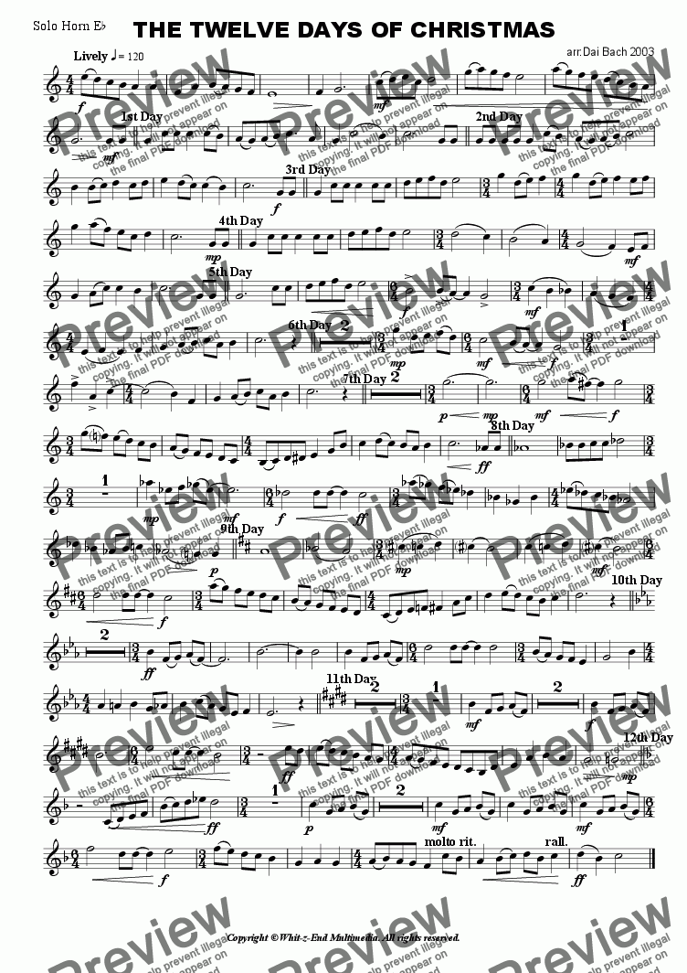 page one of the Solo Horn part from The Twelve Days of Christmas