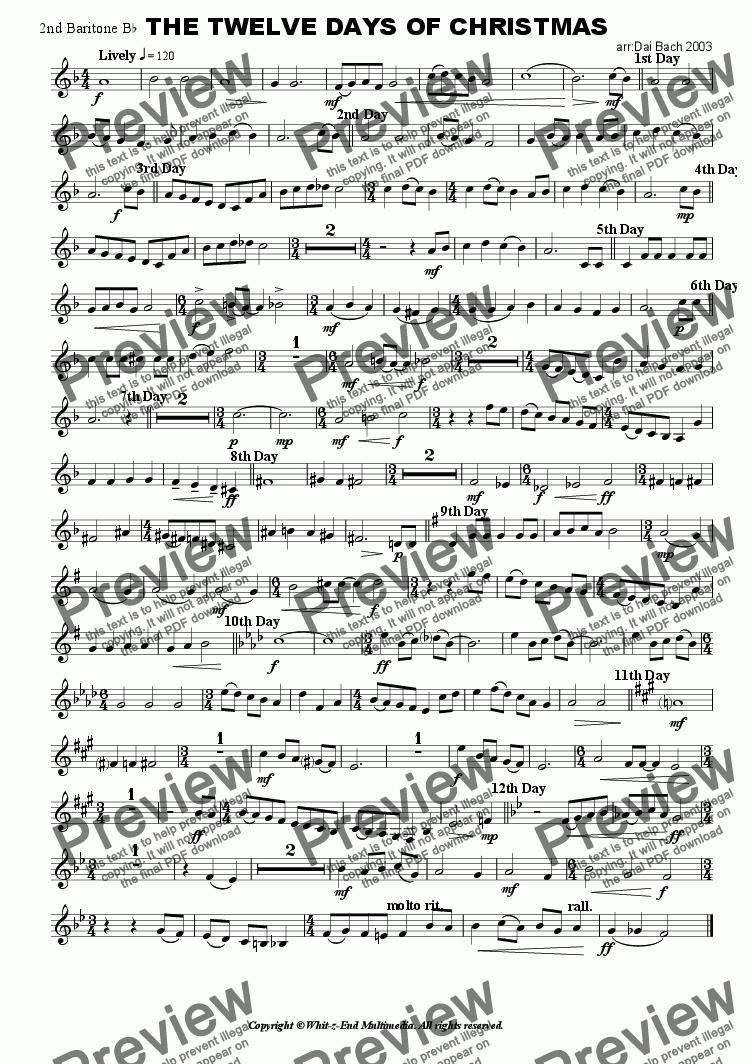 page one of the 2nd Baritone part from The Twelve Days of Christmas