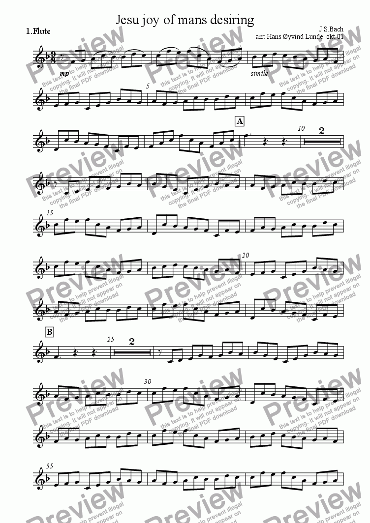 page one of the flute 1 part from Jesu joy of mans desiring