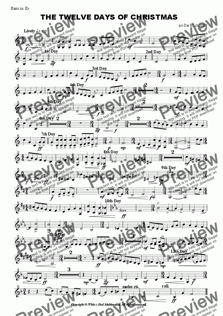 page one of the Eb Bass part from The Twelve Days of Christmas