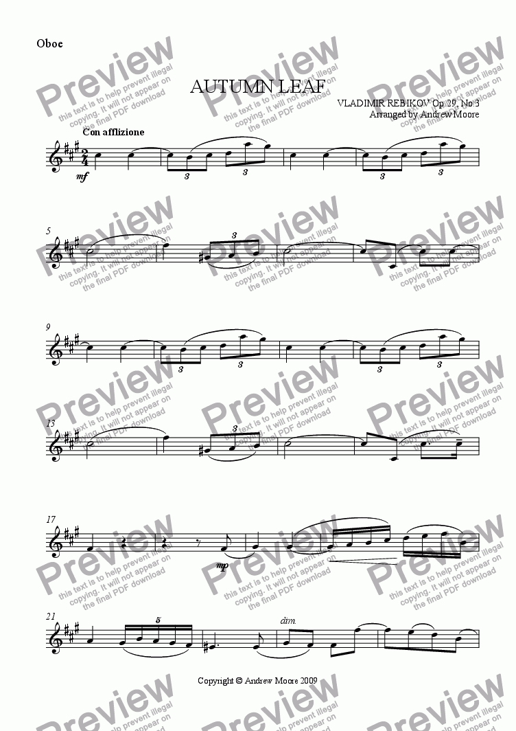 page one of the Oboe part from 'Autumn Leaf' for Oboe & piano