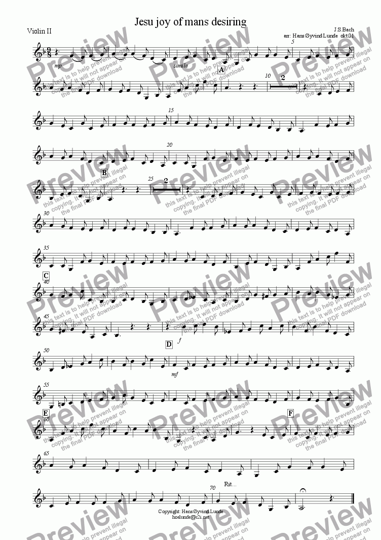 page one of the violin 2 part from Jesu joy of mans desiring