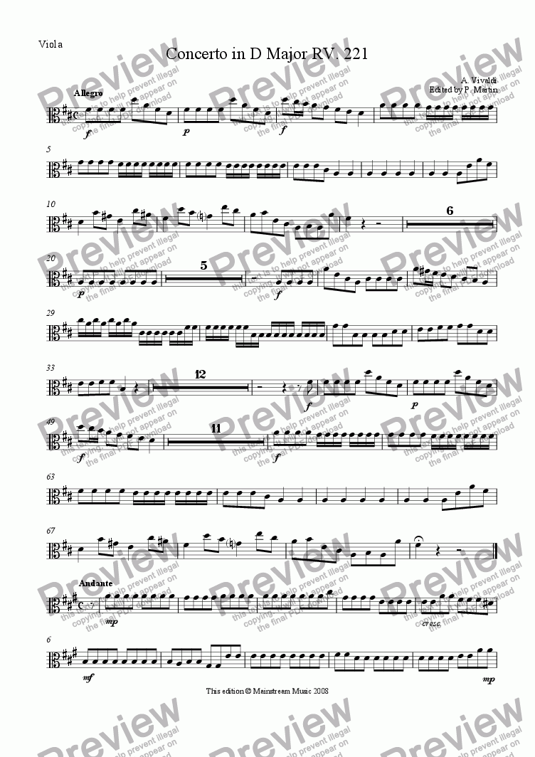 page one of the Viola part from Concerto in D Major for violin, strings & continuo RV 221