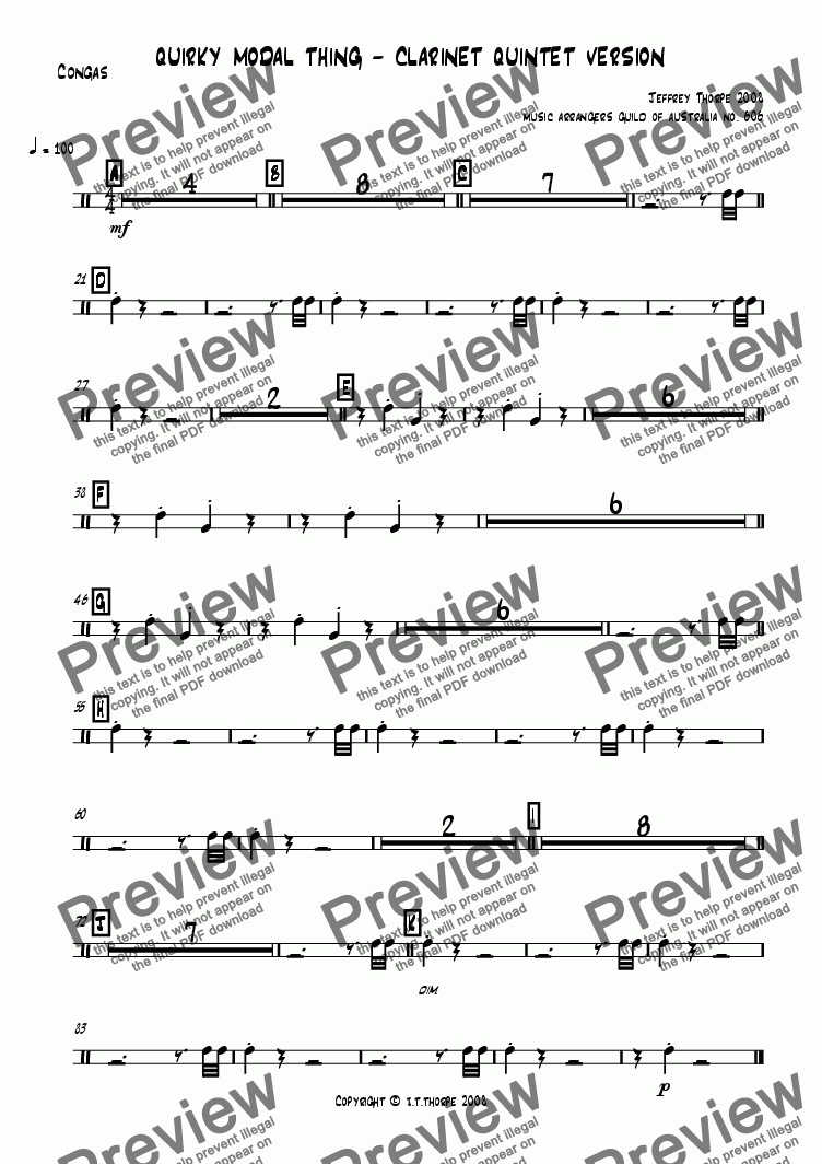 page one of the Congas part from Quirky Modal Thing - Clarinet Version