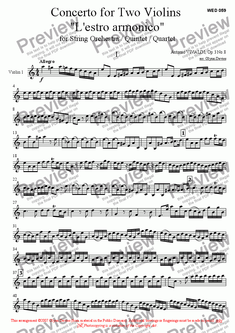 "page one of the Violin 1 part from Concerto for Two Violins ""L'estro armonico"" Op.3 No.8 - Movement 1"