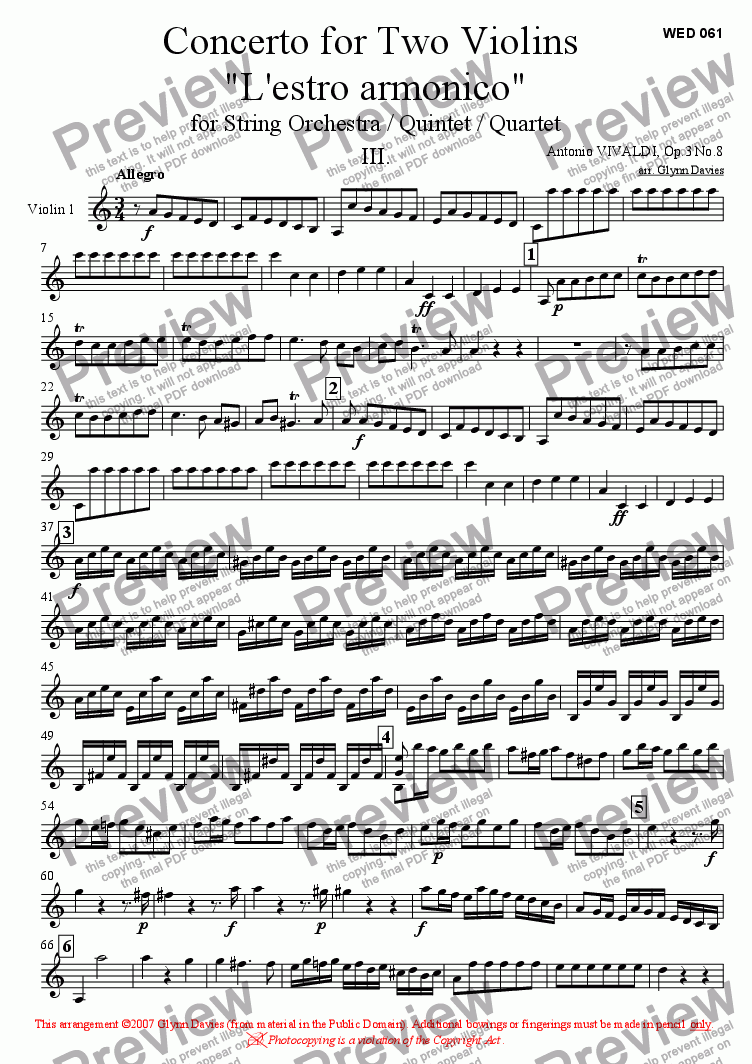 "page one of the Violin 1 part from Concerto for Two Violins ""L'estro armonico"" Op.3 No.8 - Movement 3"