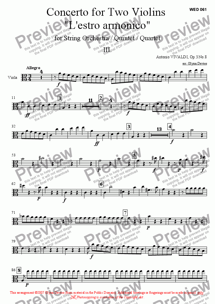 "page one of the Viola part from Concerto for Two Violins ""L'estro armonico"" Op.3 No.8 - Movement 3"