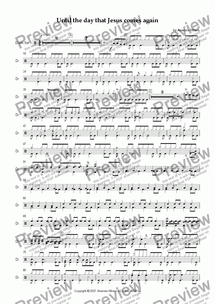 page one of the drums part from Until the day that Jesus comes again (guitar/band)