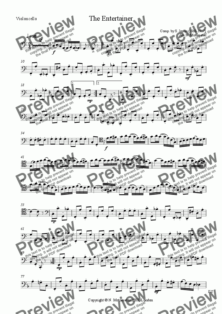 page one of the Violoncello part from The Entertainer