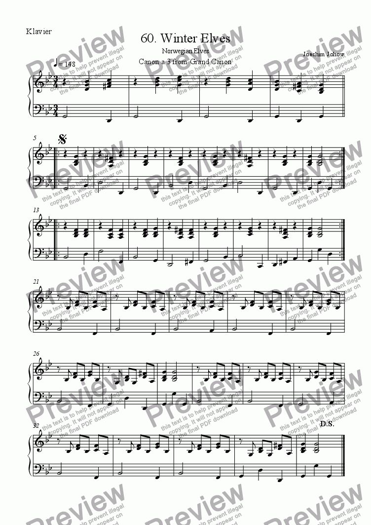 page one of the Piano part from Grand Canon 60 (Winter Elves - 3 Vl)