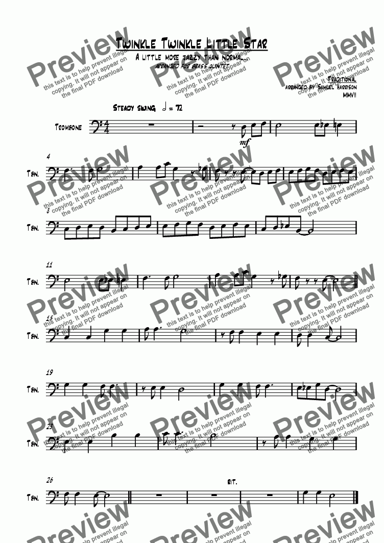 page one of the Trombone part from Twinkle Twinkle Little Star