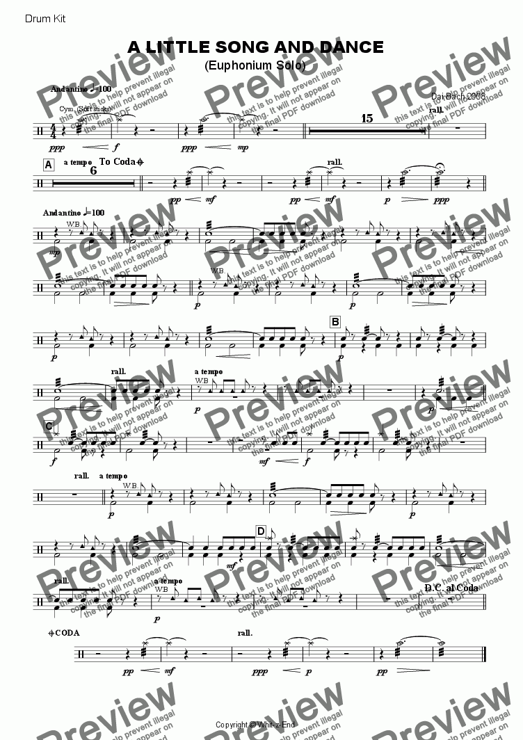 page one of the Drum Kit part from A Little Song & Dance (Euphonium Solo)