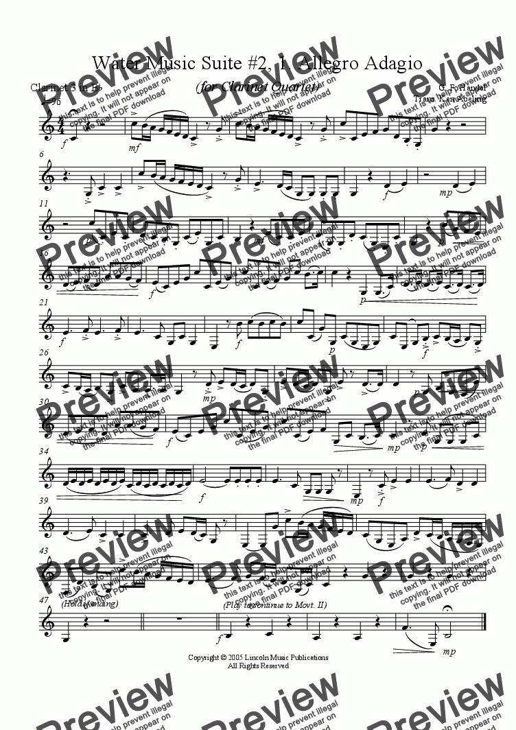 page one of the Hand WMS2 M1 C3 part from Handel - Water Music Suite No. 2, I. Allegro Adagio (Clarinet Quartet)