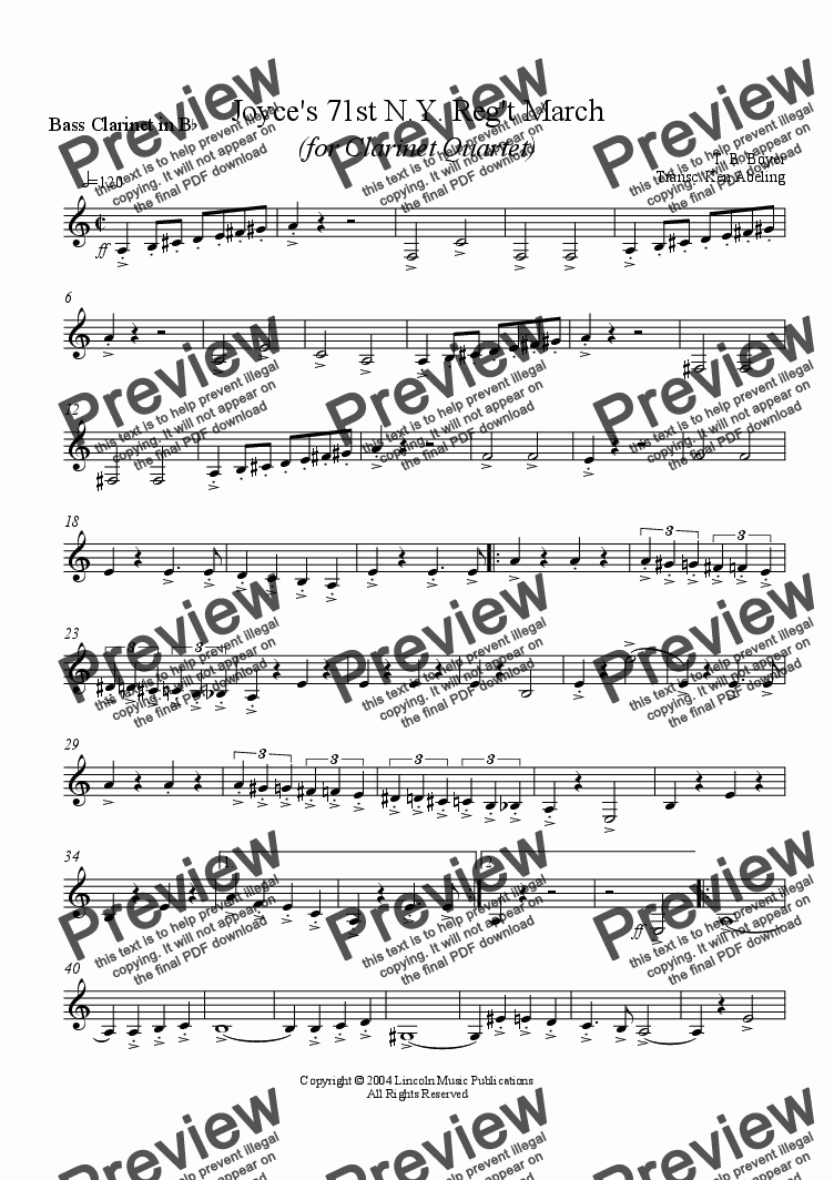 page one of the Joyce Bass C part from March - Joyce's 71st Regiment (Clarinet Quartet)