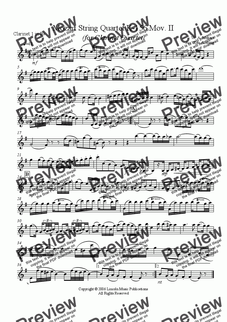 page one of the Mox 156 C1 part from Mozart String Quartet KV 156 Mov, II (Clarinet Quartet)