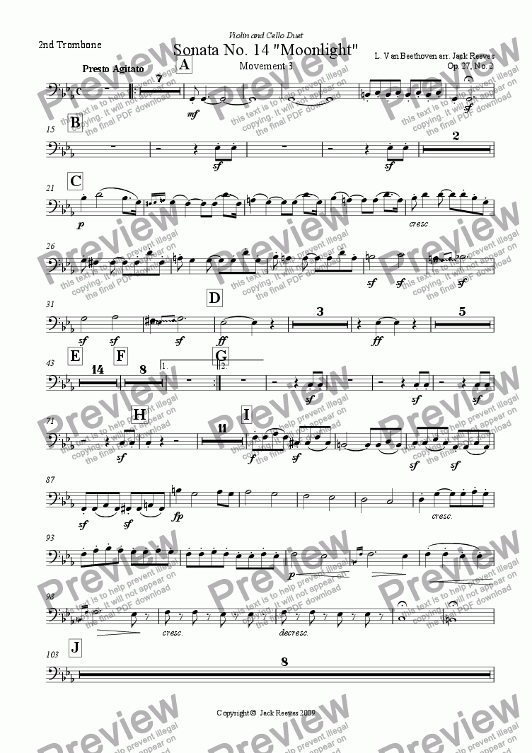 page one of the 2nd Trombone part from Moonlight Sonata - 3rd Movement (C Minor) - Orchestra with Violin and Cello Duet