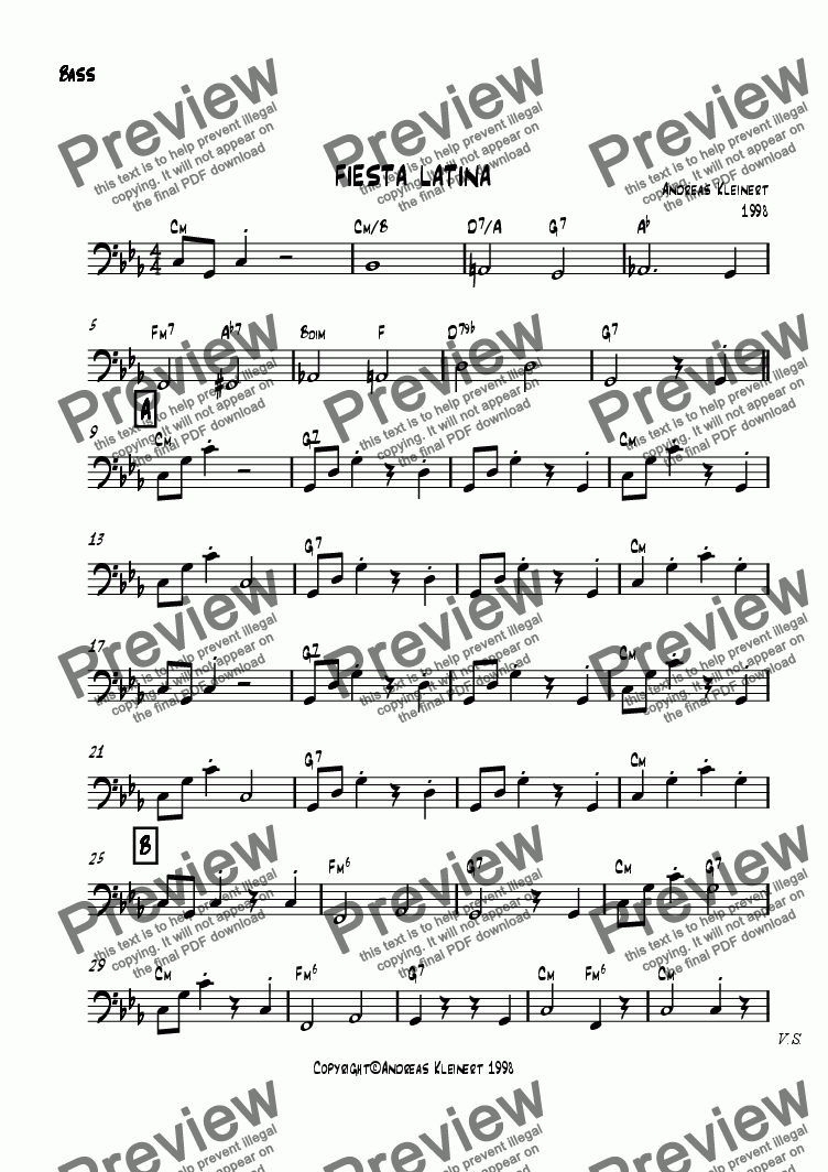 page one of the bass part from Fiesta Latina
