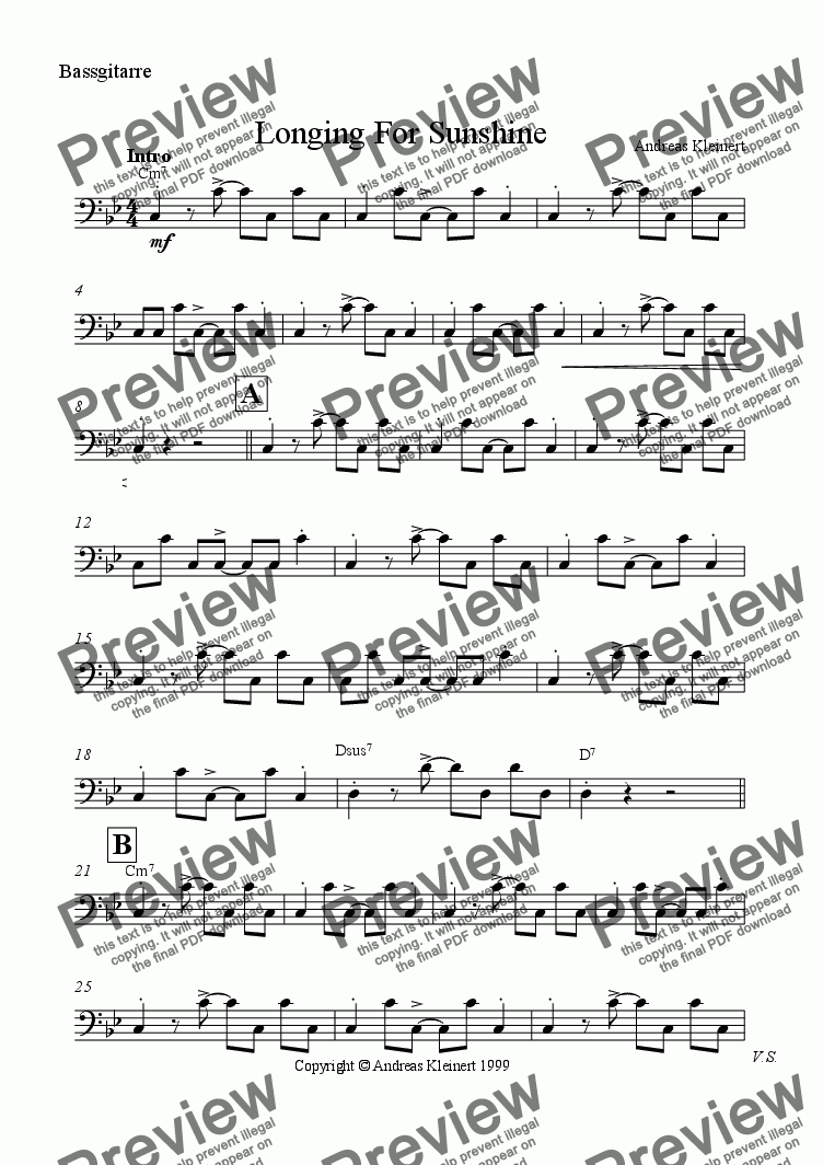 page one of the bass part from Longing For Sunshine