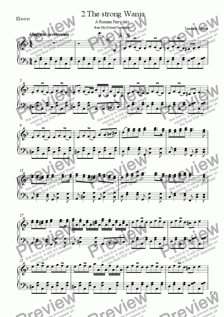 page one of the Piano part from My School Orchestra (02 The strong Wanja - Strings)