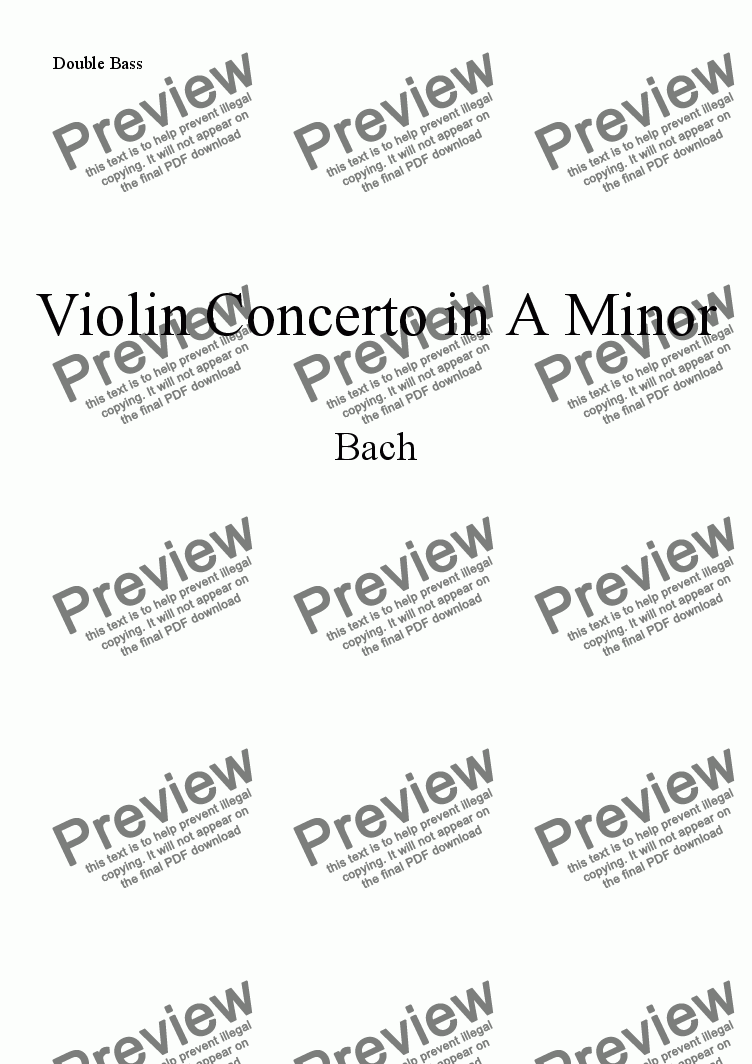 page one of the Bass part from Bach Violin Concerto in A minor