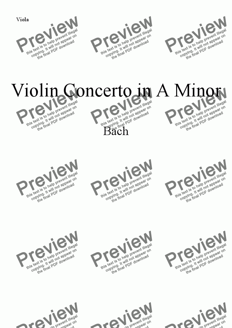 page one of the Viola part from Bach Violin Concerto in A minor