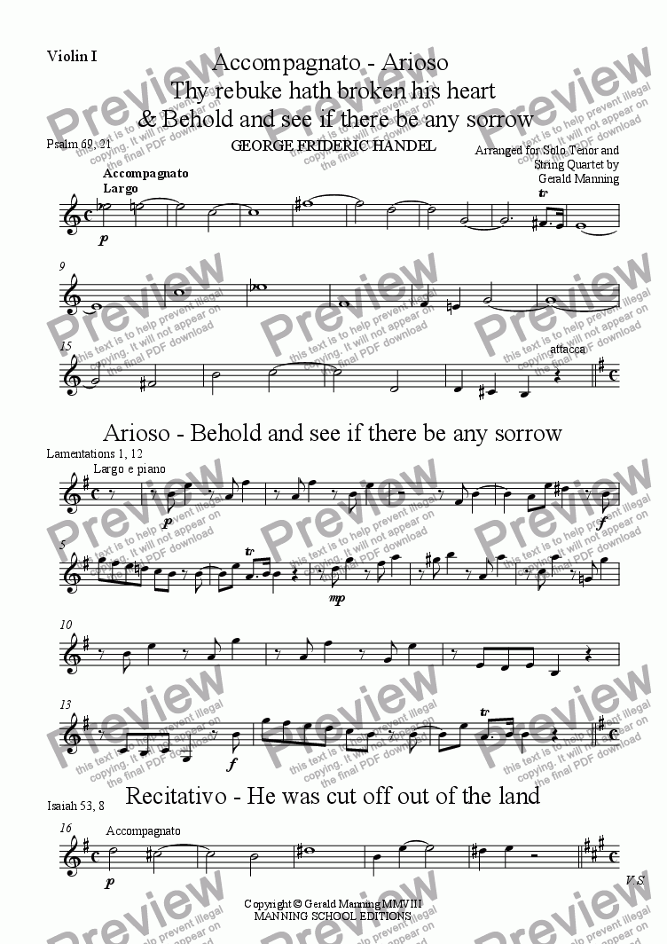 page one of the Violin I part from Reliquary of Sacred Music - Handel, G.F. - Solos 'Thy Rebuke', 'Behold and see', 'He was cut off' and 'But Thou didst not leave', from Messiah -  arr. for Solo Tenor and String Quartet by Gerald Manning