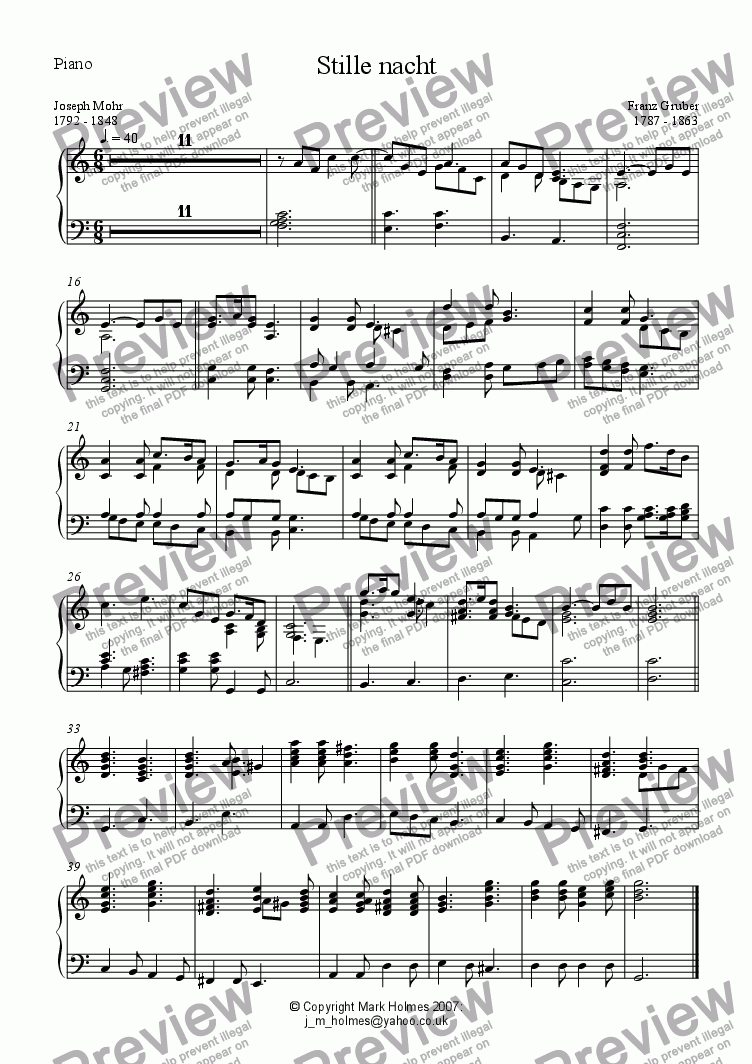 page one of the Piano part from Stille nacht