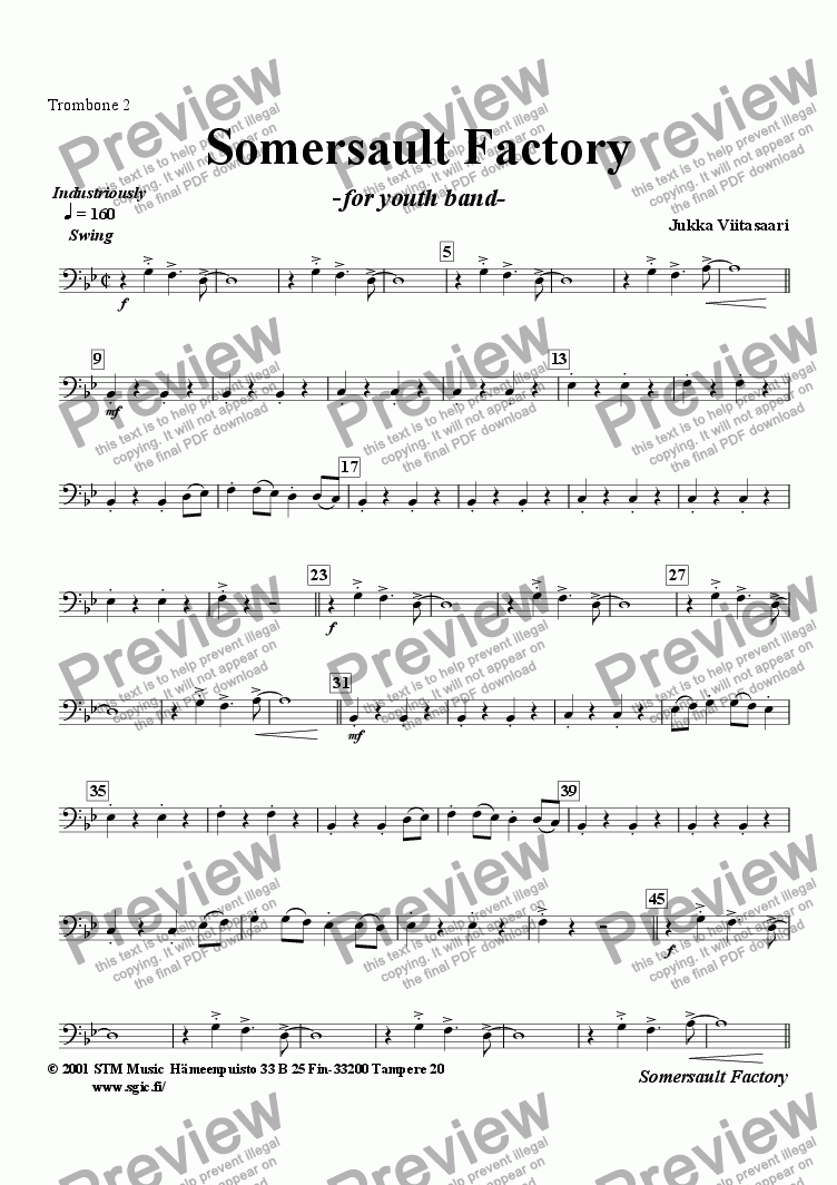 page one of the Trombone 2 part from Somersault Factory (youth band)