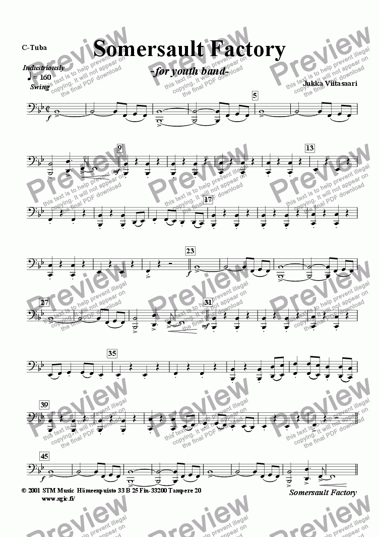 page one of the String bass (opt.) part from Somersault Factory (youth band)
