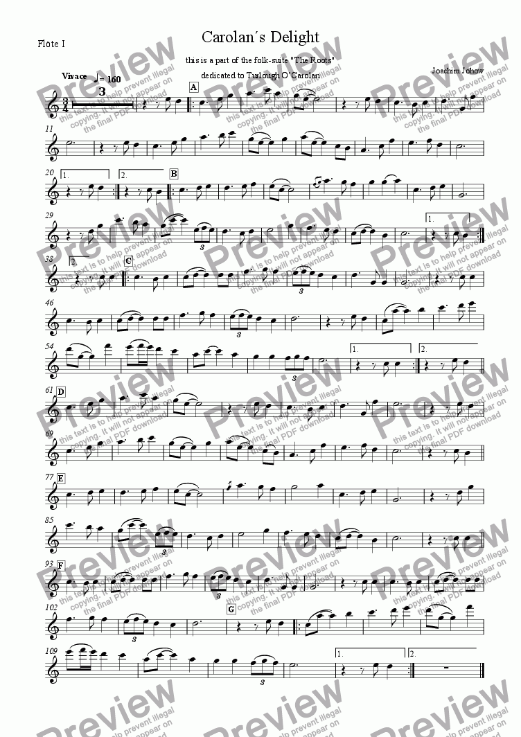 page one of the Fl 1 part from My Roots B (Carolan`s Delight)