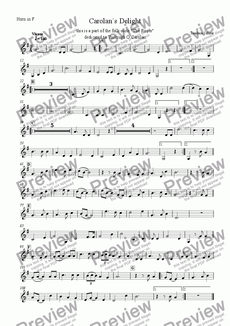 page one of the Horn F part from My Roots B (Carolan`s Delight)