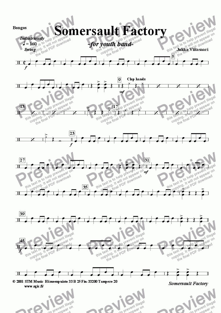 page one of the Bongos part from Somersault Factory (youth band)