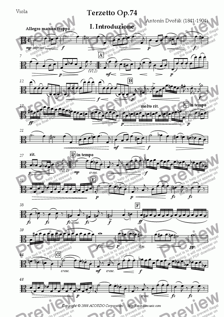 page one of the Viola part from Terzetto Op.74 for two Violins & Viola