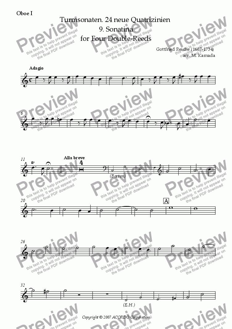 page one of the Oboe I part from Turmsonaten. 24 neue Quatrizinien 9. Sonatina for Four Double-Reeds
