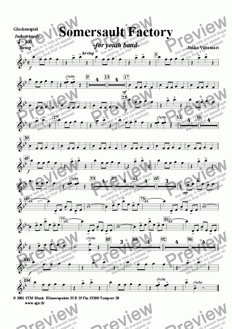 page one of the Glockenspiel part from Somersault Factory (youth band)