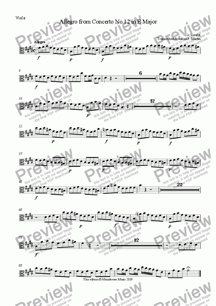 page one of the Viola part from Allegro from Concerto in E Major RV265