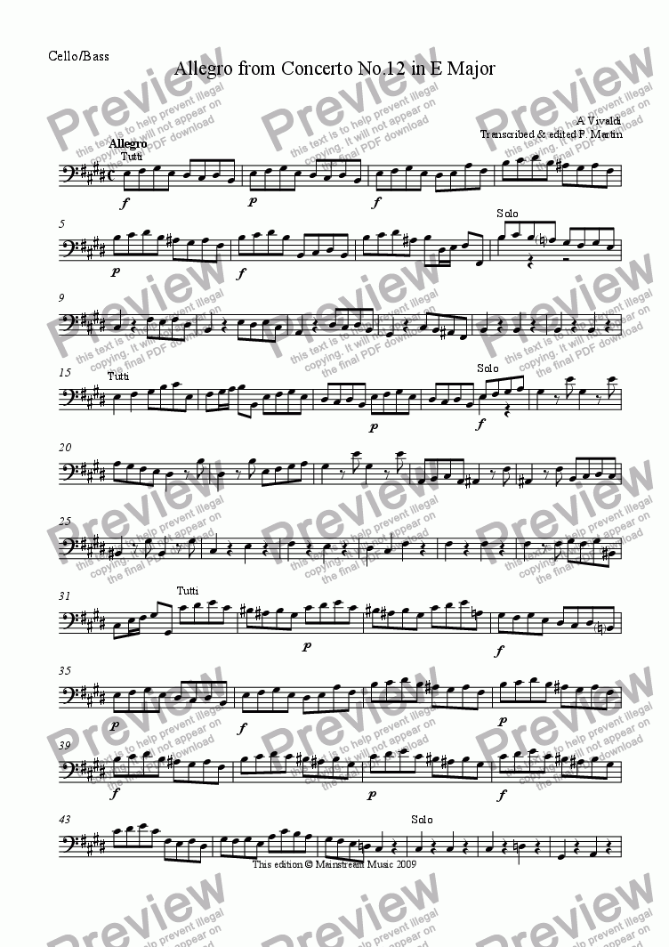 page one of the Cello/Bass part from Allegro from Concerto in E Major RV265