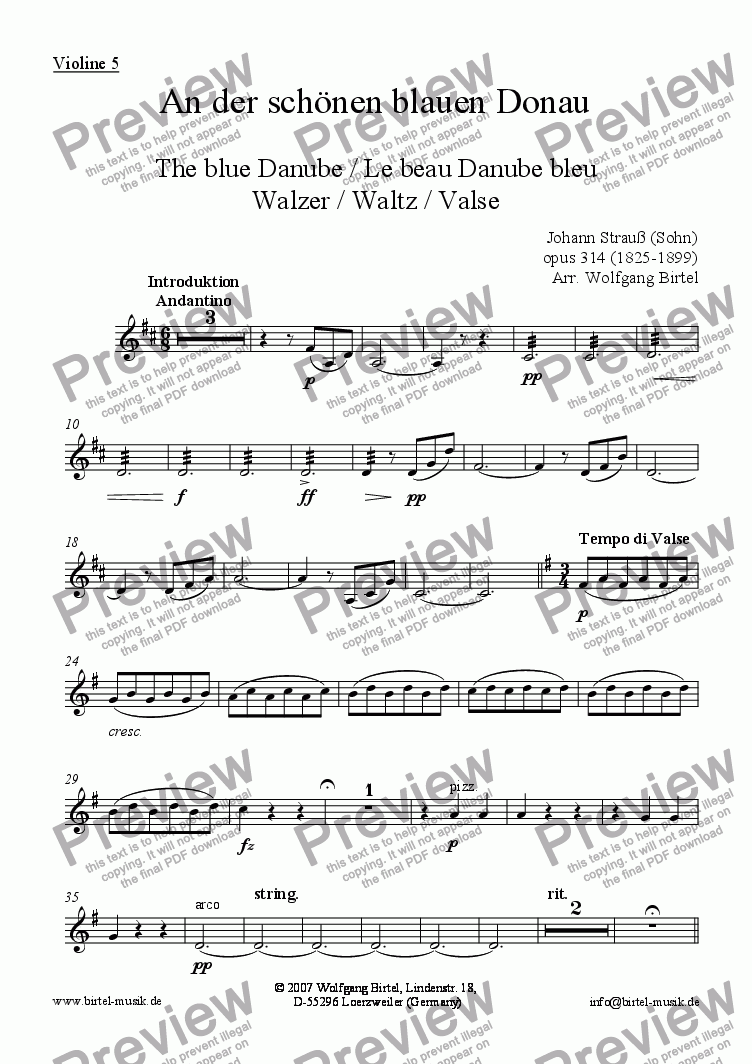 page one of the Violin 5 part from An der schönen blauen Donau / The blue Danube / Le beau Danube bleu (Violin Ensemble) (Walzer / Waltz / Valse)