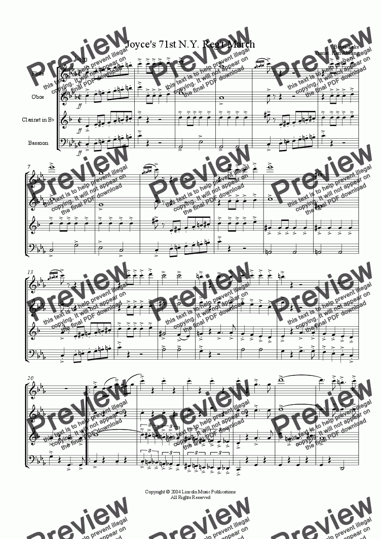 page one of the Joyces Fl part from March - Joyce's 71st Regiment (Woodwind Quartet)