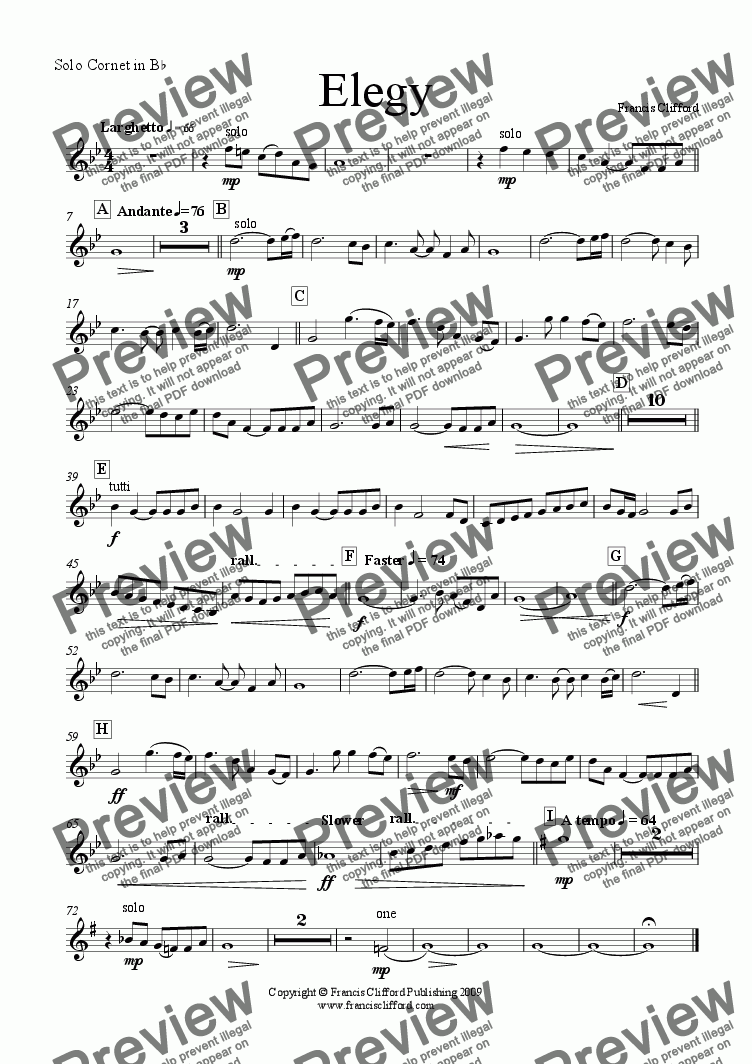 page one of the Solo Cornet in Bb part from Elegy (Brass Band Version)