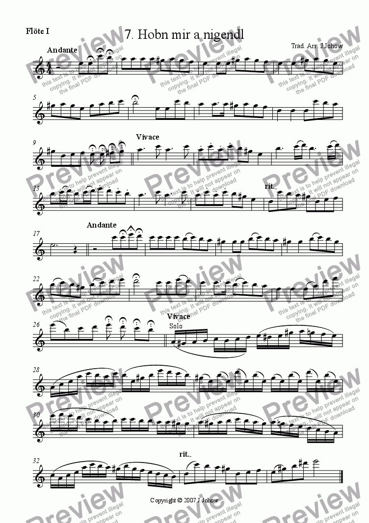 page one of the 1. Fl part from My Klezmer Book 07 (Hobn mir a Nigendl)