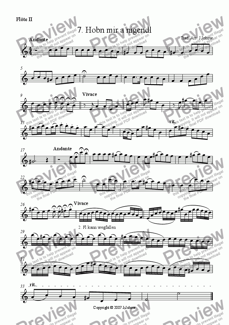 page one of the 2. Fl part from My Klezmer Book 07 (Hobn mir a Nigendl)