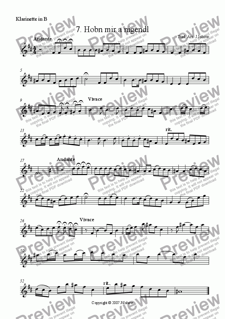 page one of the Cl B part from My Klezmer Book 07 (Hobn mir a Nigendl)