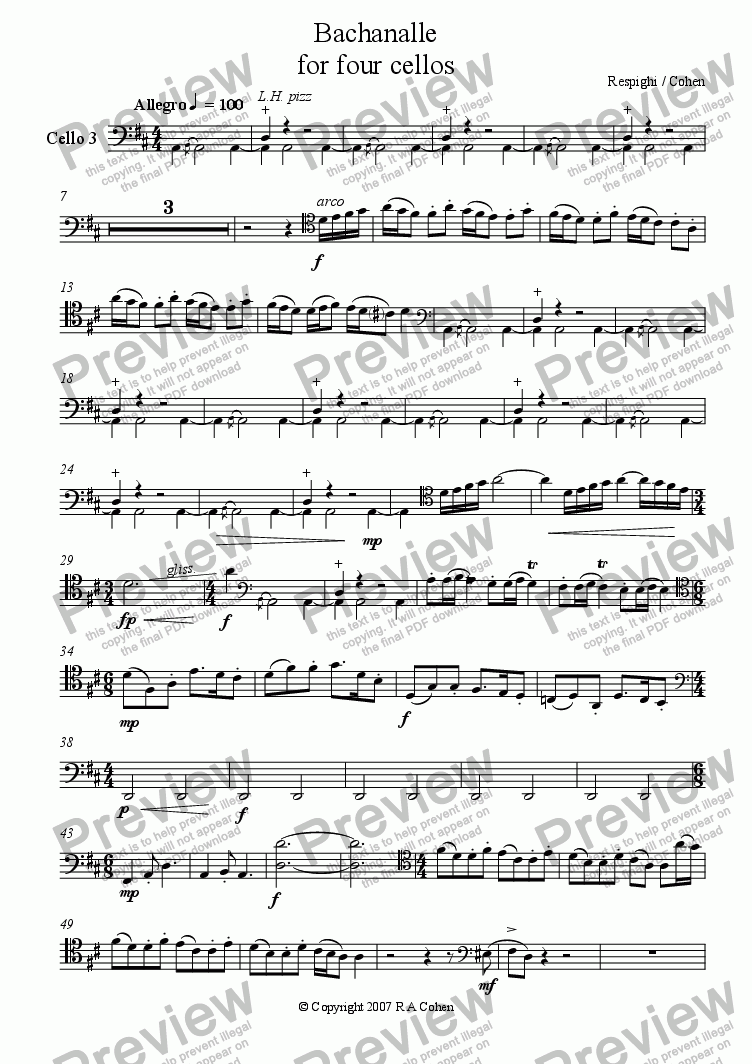 page one of the Cello 3 part from Respighi/Cohen - BACHANALLE - for cello quartet